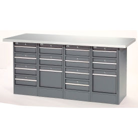 "72""W x 30""D Plastic Top 14 Drawer Workbench"