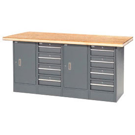 "72""W x 30""D Shop Top 8 Drawer/2 Cabinet Workbench"