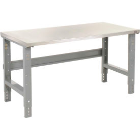 "72""W X 30""D Stainless Steel Square Edge Top Workbench With Adjustable Legs - 1-1/2"" Top - Gray"