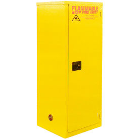 "Global™ Slim Flammable Cabinet BA24YP - Manual Close Single Door 24 Gallon- 23""W x 18""D x 65""H"