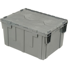Plastic Shipping / Distribution Storage Container DC2820-15 w/ Hinged Lid 28-1/8x20-3/4x15-5/8 Gray