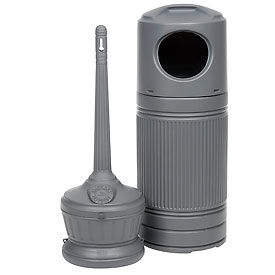 Smokers' Outpost & Littermate Trash Can Combo Gray