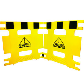 "Folding Plastic Barricade Set Of 2 Panels Open 74""L X 36""H X 1-1/4"" Thick"