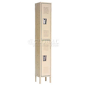 Double Tier Republic Locker 12x12x36 2 Door Assembled Tan