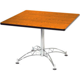 """OFM 36"""" Multi-Purpose Square Table with Chrome-Plated Steel Base, Cherry"""