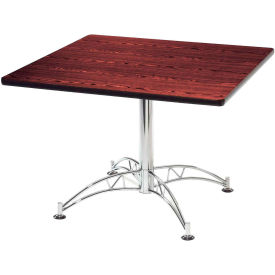 """OFM 36"""" Multi-Purpose Square Table with Chrome-Plated Steel Base, Mahogany"""