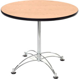 "OFM 42"" Multi-Purpose Round Table with Chrome-Plated Steel Base, Oak"