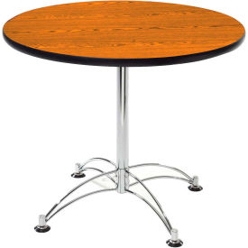 "OFM 42"" Multi-Purpose Round Table with Chrome-Plated Steel Base, Cherry"