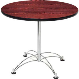 "OFM 42"" Multi-Purpose Round Table with Chrome-Plated Steel Base, Mahogany"