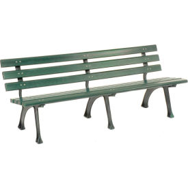 6'L Park Bench With Backrest - Green