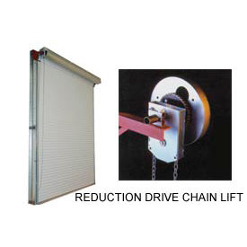 DBCI 10 x 8 White 2000 Series Roll-Up Dock Door with 4:1 Reduction Drive Chain Lift