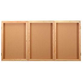 "United Visual Products Bulletin Board Wood Frame Three Door 72""W x 48""H"