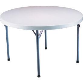 """Lifetime® Portable Round Folding Table 48"""" - White Granite"""