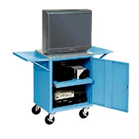 Set Of 2 Blue Side Shelves For Security Audio Visual Cart
