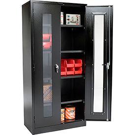 Global® Clear View Storage Cabinet Assembled 36x18x78 - Black