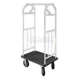 Glaro Bellman Hotel Cart 35x24 Satin Aluminum with Black Carpet & Rubber Wheels