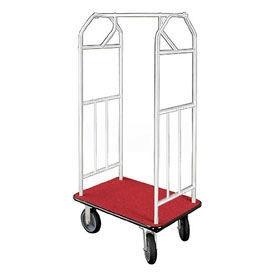 Glaro Bellman Hotel Cart 35x24 Satin Aluminum, Burgundy Carpet & Rubber Wheels