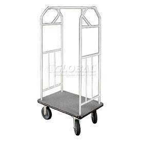 Glaro Bellman Hotel Cart 35x24 Satin Aluminum with Gray Carpet & Rubber Wheels