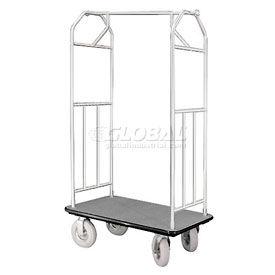 Glaro Bellman Hotel Cart 35x24 Satin Aluminum with Gray Carpet & Pneu. Wheels