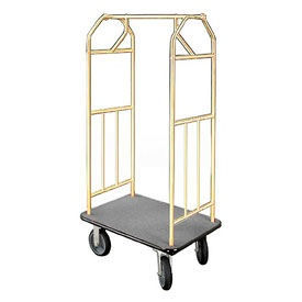 Glaro Bellman Hotel Cart 35x24 Satin Brass with Gray Carpet & Rubber Wheels