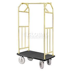 Glaro Bellman Hotel Cart 35x24 Satin Brass with Black Carpet & Pneu. Wheels