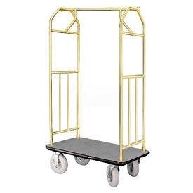 Glaro Bellman Hotel Cart 35x24 Satin Brass with Gray Carpet & Pneu. Wheels