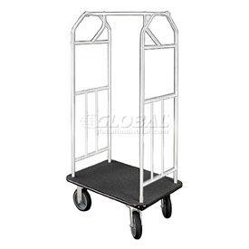 Glaro Bellman Hotel Cart 41x24 Satin Aluminum with Black Carpet & Rubber Wheels