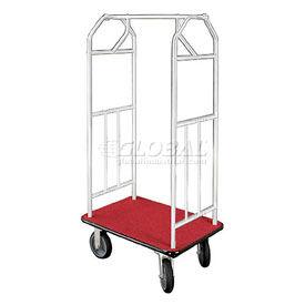 Glaro Bellman Hotel Cart 41x24 Satin Aluminum, Burgundy Carpet & Rubber Wheels