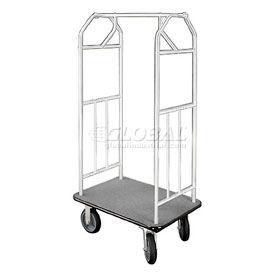 Glaro Bellman Hotel Cart 41x24 Satin Aluminum with Gray Carpet & Rubber Wheels