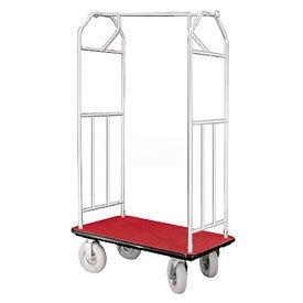 Glaro Bellman Hotel Cart 41x24 Satin Aluminum, Burgundy Carpet & Pneu. Wheels