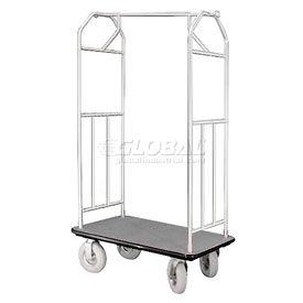 Glaro Bellman Hotel Cart 41x24 Satin Aluminum with Gray Carpet & Pneu. Wheels