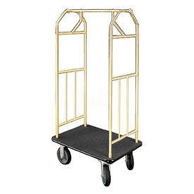 Bellman Hotel Cart 41x24 Satin Brass With Black Carpet And Rubber Wheels