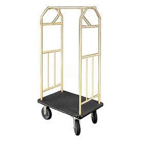 Glaro Bellman Hotel Cart 41x24 Satin Brass with Black Carpet & Rubber Wheels