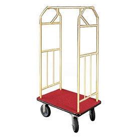 Glaro Bellman Hotel Cart 41x24 Satin Brass with Burgundy Carpet & Rubber Wheels