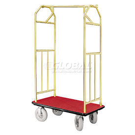 Glaro Bellman Hotel Cart 41x24 Satin Brass with Burgundy Carpet & Pneu. Wheels