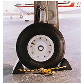 "Vestil Twin Aircraft Wheel Chocks AC-13 10""L x 5""W x 4-1/2""H with Poly Rope"