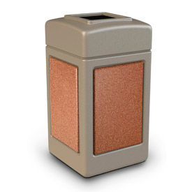 42 Gallon StoneTec® 720316 Square Waste Receptacles - Beige With Sedona Panels