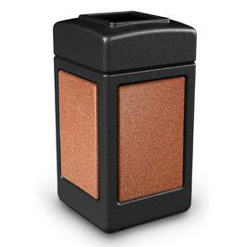 42 Gallon StoneTec® 720314 Square Waste Receptacle - Black With Sedona Panels