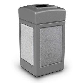 42 Gallon StoneTec® 720311 Square Waste Receptacles - Gray With Ashtone Panels