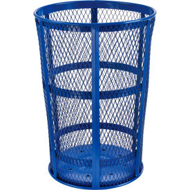 Outdoor Metal Trash Container Blue, 48 Gallon