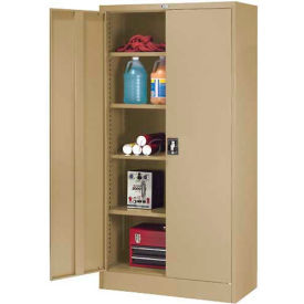 """Global™ Steel Storage Cabinet Recessed Handle 36""""W x 18""""D x 72""""H Tan Easy Assembly"""