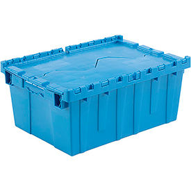 Plastic Shipping Container / Storage Container Attached Lid DC2115-09 21-7/8x15-1/4x9-11/16 Blue - Pkg Qty 6