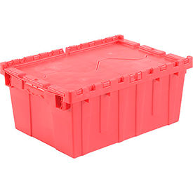 Plastic Storage Totes - Shipping Hinged Lid  DC2115-09 21-7/8 x 15-1/4 x 9-11/16 Red