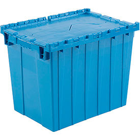Plastic Shipping Container / Storage Container Attached Lid DC2115-17 21-7/8x15-1/4x17-1/4 Blue - Pkg Qty 3