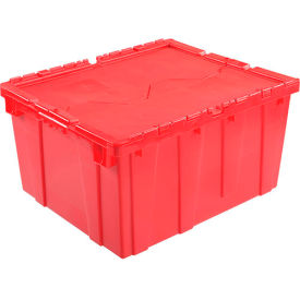 Plastic Shipping Container / Storage Container Attached Lid DC2420-12 23-3/4x19-1/4x12-1/2 Red - Pkg Qty 3