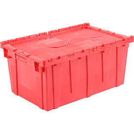 Plastic Shipping Container / Storage Container Attached Lid DC2717-12 27-3/16x16-5/8x12-1/2 Red - Pkg Qty 3