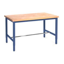 "60""W x 30""D Production Workbench - Maple Butcher Block Safety Edge - Blue"