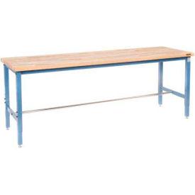 "96""W x 30""D Production Workbench - Maple Butcher Block Square Edge - Blue"