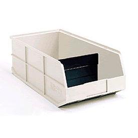 "AkroBins® 1800 Series 30348 - Stackable Shelf Bin 8-1/4""W x 20-1/2""D x 7""H Beige w/One Divider - Pkg Qty 6"