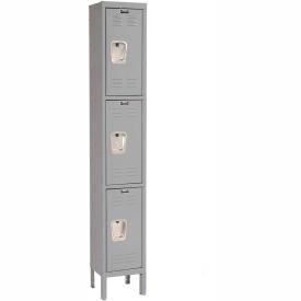 Hallowell U1228-3A-HG Premium Locker Triple Tier 12x12x24 3 Door Assembled Gray